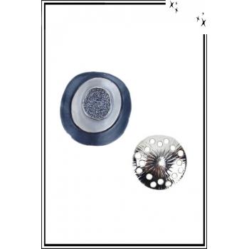 Broche aimantée - Cercles et strass - Bleu et marine