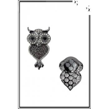 Broche aimantée - Chouette strass - Noir