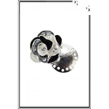 Broche aimantée - Rose et strass - Blanc, noir et gris