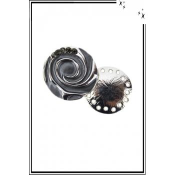 Broche aimantée - Spirale et strass - Gris