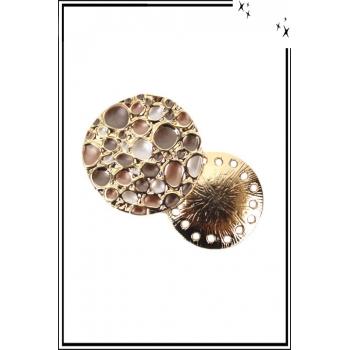 Broche aimantée - Bulles - Brun, rose et doré