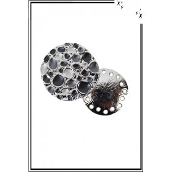 Broche aimantée - Bulles - Blanc, gris, et argenté