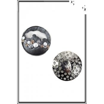 Broche aimantée - Forme ronde ouverte - Noir