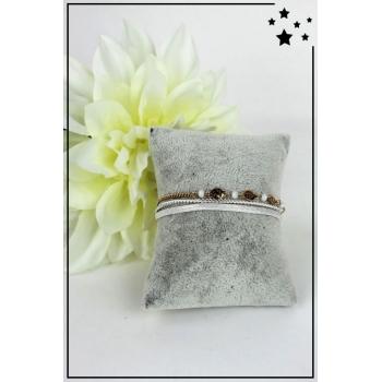 Bracelet - Perles et pampilles - 3 rangs - Blanc
