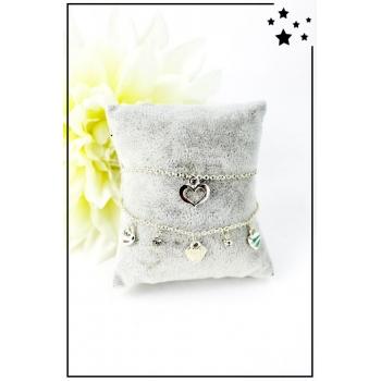 Bracelet charms - Coeurs et strass - Reflets dorés