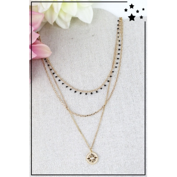 Collier multirang - Rose des vents - Doré