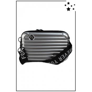 Petit sac bandoulière - Mini valise rigide - Argenté