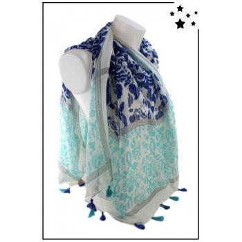 Foulard - Motifs et pompons - Bleu