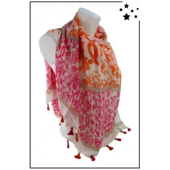 Foulard - Motifs et pompons - Rose et orange
