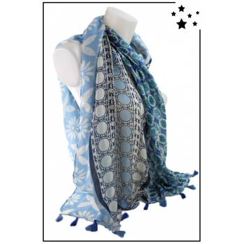 Foulard - Motifs divers végétaux - Bleu
