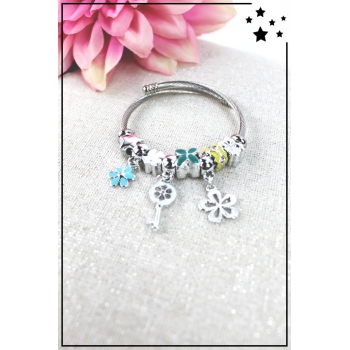 Bracelet clips et charms - Charms fleurs et clé - Multi