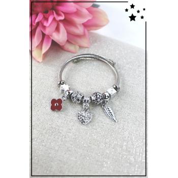 Bracelet clips et charms - Charms fleur, coeur et feuille - Rouge
