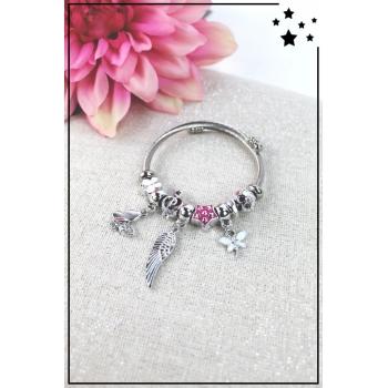 Bracelet clips et charms - Charms papillon, aile d'ange et libellule - Rose et blanc