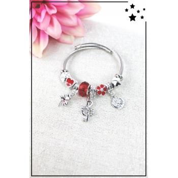 Bracelet clips et charms - Charms trèfle, clé de sol et arbre de vie - Rouge