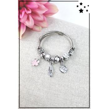 Bracelet clips et charms - Charms fleur, plume et arbre de vie - Rose et blanc
