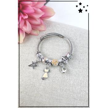 Bracelet clips et charms - Charms étoile, chat et strass - Nude