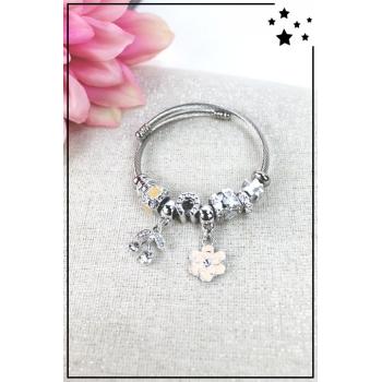 Bracelet clips et charms - Charms cerise et fleur - Nude
