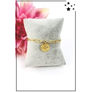 Bracelet maillons larges - Médaillon - Doré