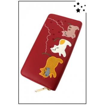 Porte-monnaie - Grand modèle - Famille chat - Rouge