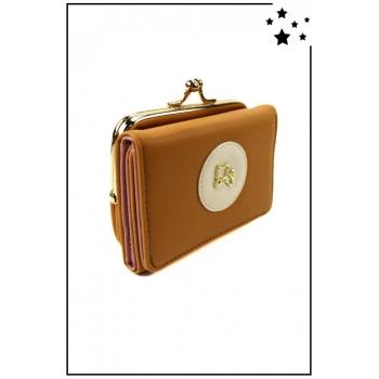 Porte-monnaie - Petit modèle - Clic-clac - Chat doré - Moutarde