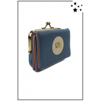 Porte-monnaie - Petit modèle - Clic-clac - Chat doré - Bleu