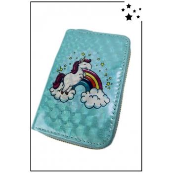 Porte-monnaie - Petit modèle - Licorne et arc-en-ciel - Bleu