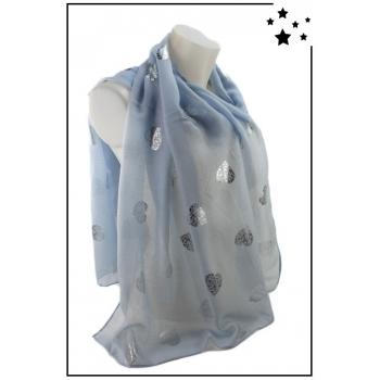 Foulard - Motifs coeurs ajourés - Bleu ciel