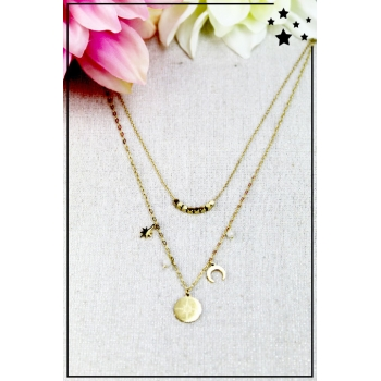 Collier multirang - Lune et étoiles - Perles blanches