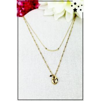 Collier multirang - Coquillage doré - Perle noire