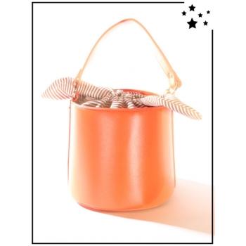 Sac à main - Format seau - Nœud rayé - Orange