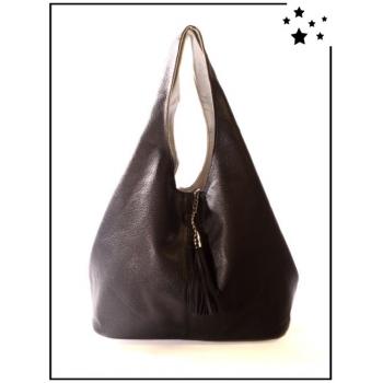 Grand sac à main - Format Hobo - Noir