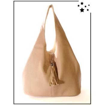 Grand sac à main - Format Hobo - Beige