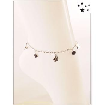 Chaîne de cheville - Breloques - Perles et fleurs - Noir