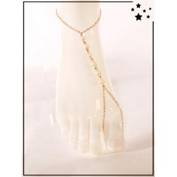 Bracelet de cheville - Perles nude  - Doré