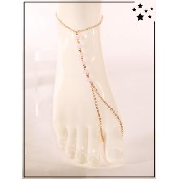 Bracelet de cheville - Perles roses - Doré
