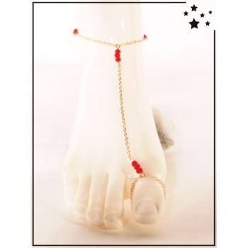 Bracelet de cheville - 3 perles rouges - Doré