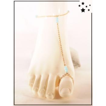Bracelet de cheville - 3 perles bleues - Doré
