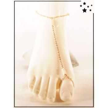 Bracelet de cheville - 3 perles nude - Doré