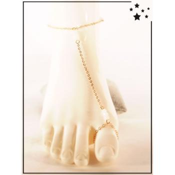 Bracelet de cheville - 3 perles blanches - Doré