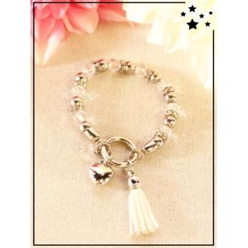 Bracelet - Pampilles - Pompons - Coeur - Blanc
