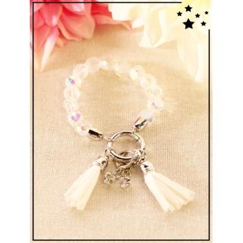 Bracelet - Pompons - Perles translucides - Blanc