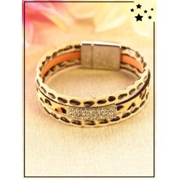 Bracelet - Imprimé léopard - Strass - Sable
