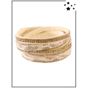 Bracelet Double tour - Effet python - Strass - Sable