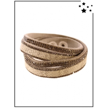 Bracelet Double tour - Effet croco - Strass - Taupe