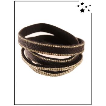 Bracelet Double tour - Effet croco - Strass - Noir