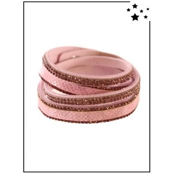 Bracelet Double tour - Effet croco - Strass - Rose poudré
