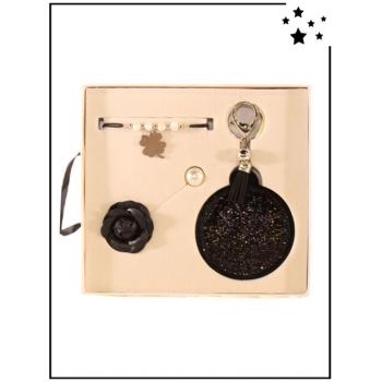 Coffret Accessoires - Miroir de sac - Bracelet - Broche - Noir