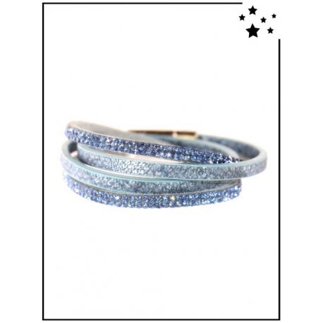 Bracelet - Double tour - Strass - Bleu