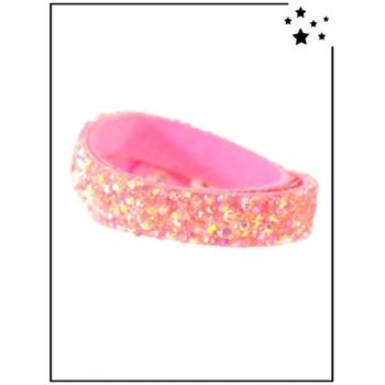Bracelet - Double tour - Perles et strass - Rose