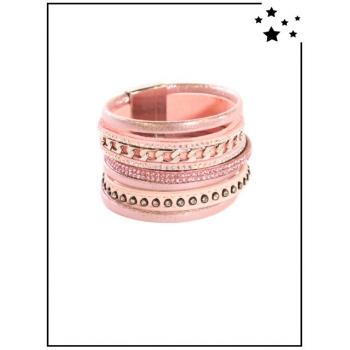 Bracelet manchette - Perles et strass - Rose